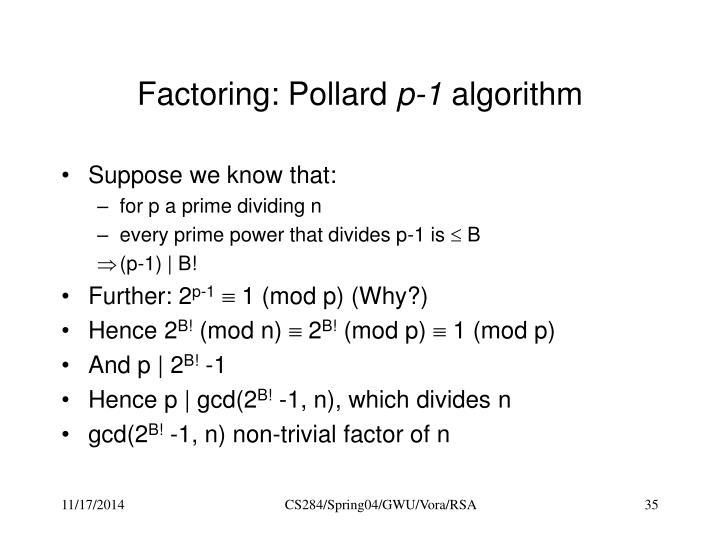 Factoring: Pollard