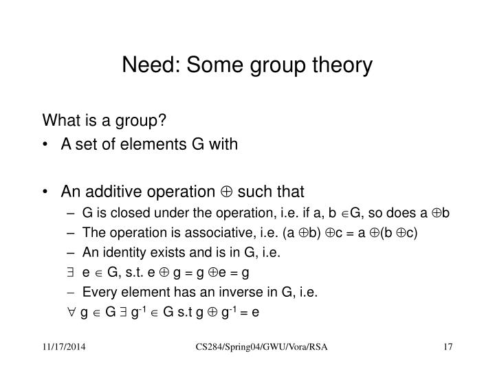 Need: Some group theory