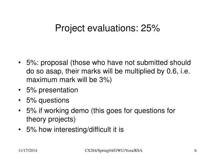 Project evaluations: 25%