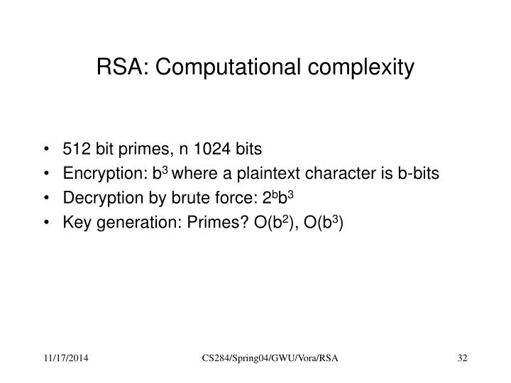 RSA: Computational complexity