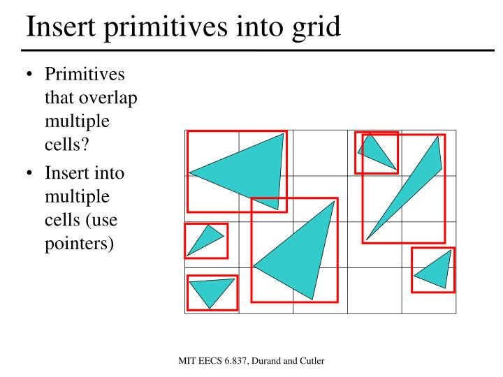Insert primitives into grid