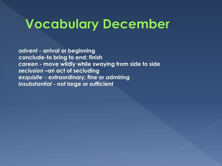 Vocabulary December