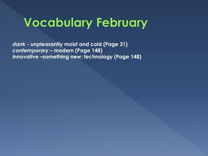 Vocabulary February