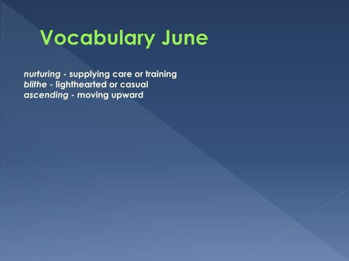 Vocabulary June