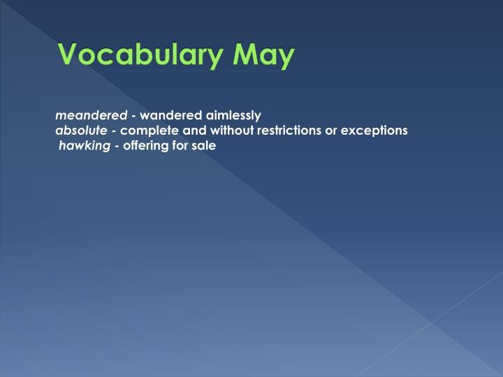 Vocabulary May