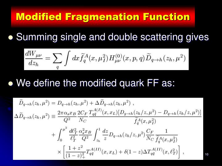 Modified Fragmenation Function