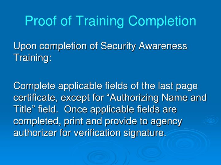 Proof of Training Completion