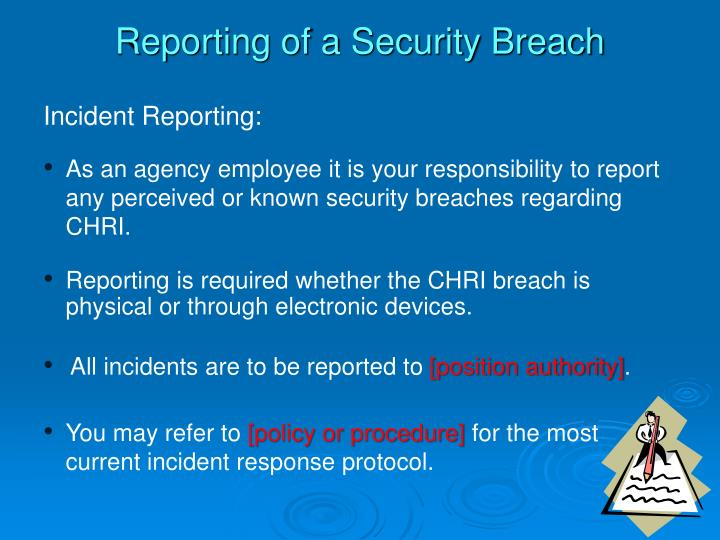 Reporting of a Security Breach