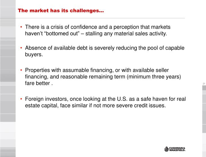 The market has its challenges…