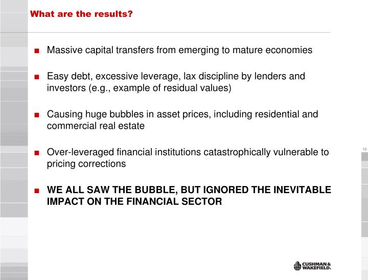 Massive capital transfers from emerging to mature economies