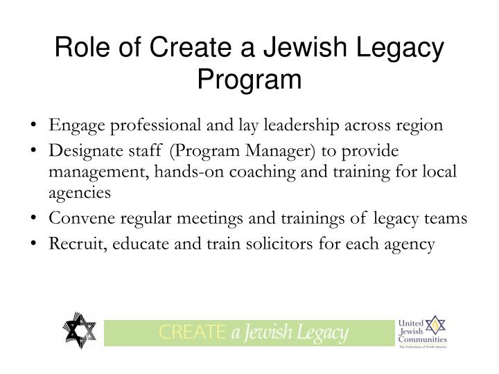 Role of Create a Jewish Legacy Program