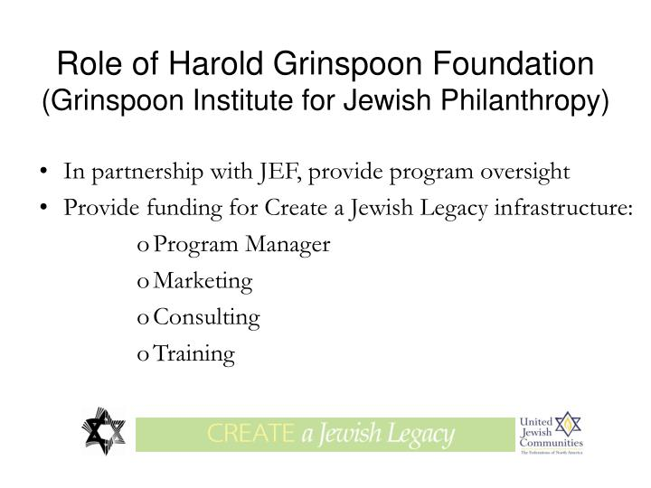 Role of Harold Grinspoon Foundation