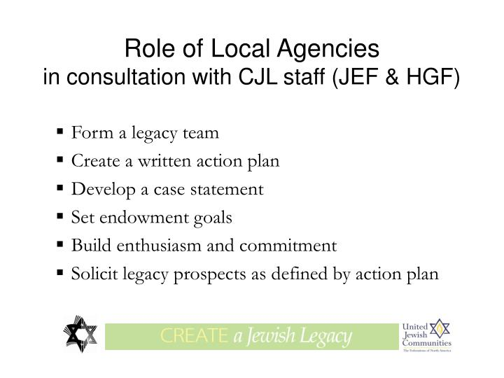 Role of Local Agencies