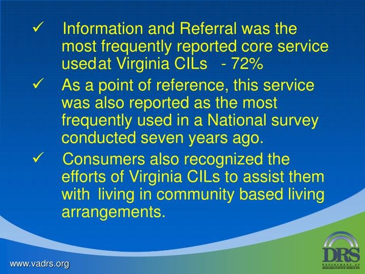 Information and Referral was the most frequently reported core service usedat Virginia CILs   - 72%