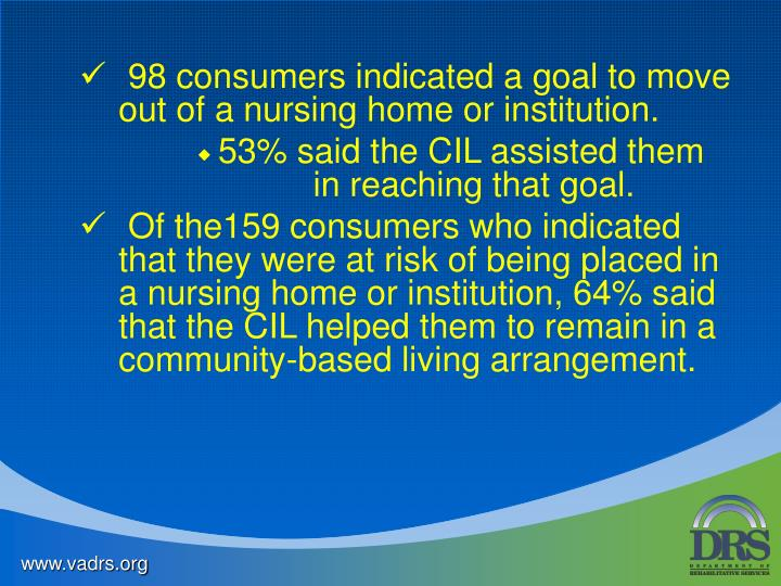 98 consumers indicated a goal to move  out of a nursing home or institution.