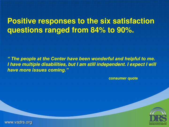 Positive responses to the six satisfaction questions ranged from 84% to 90%.