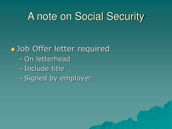 A note on Social Security