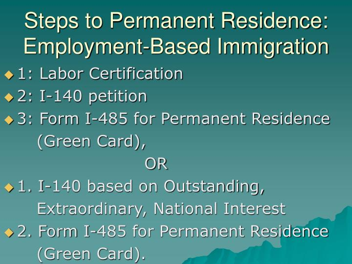 Steps to Permanent Residence:  Employment-Based Immigration