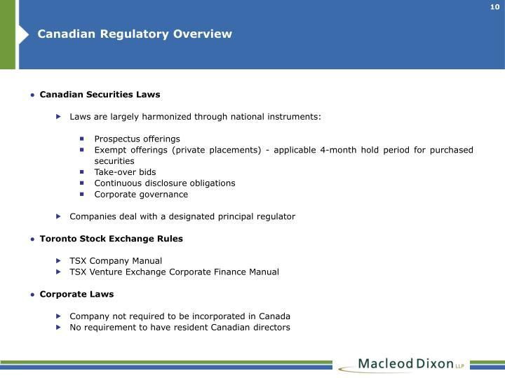 Canadian Regulatory Overview