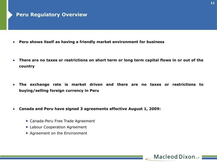 Peru Regulatory Overview