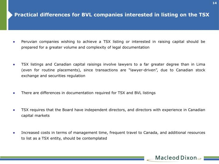 Practical differences for BVL companies interested in listing on the TSX