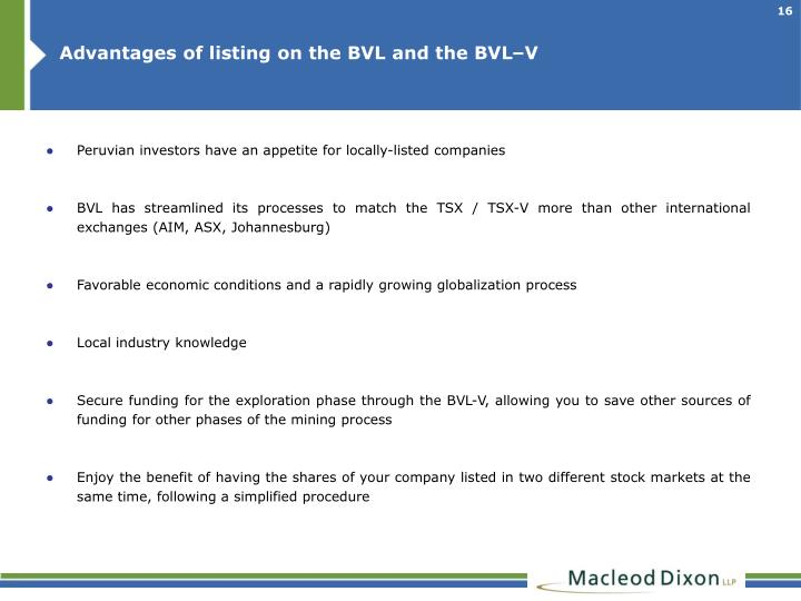Advantages of listing on the BVL and the BVL–V