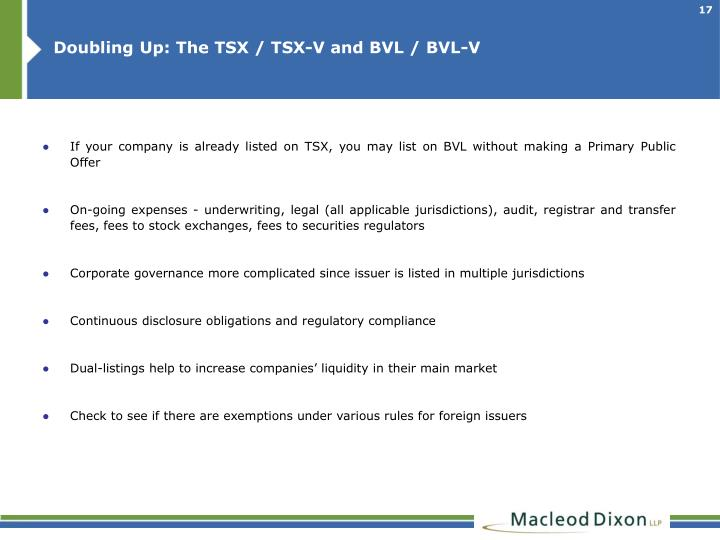 Doubling Up: The TSX / TSX-V and BVL / BVL-V