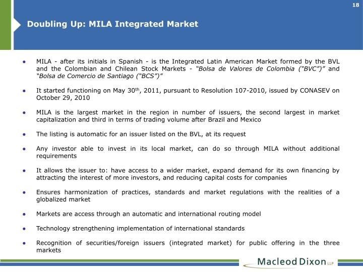Doubling Up: MILA Integrated Market