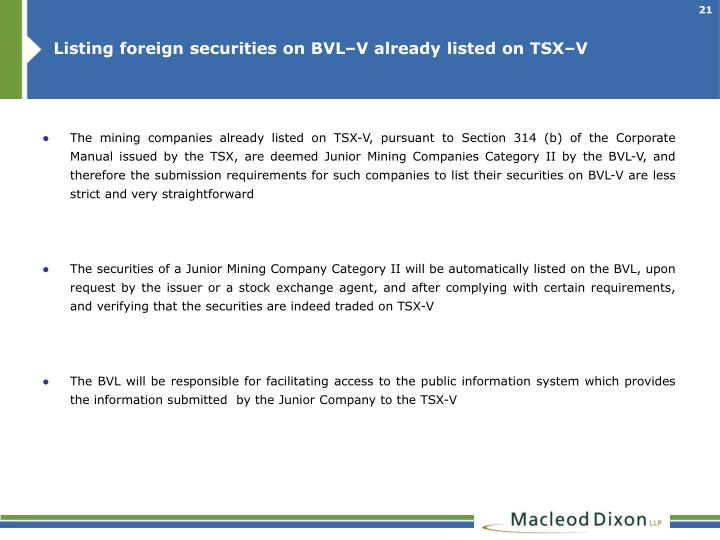 Listing foreign securities on BVL–V already listed on TSX–V