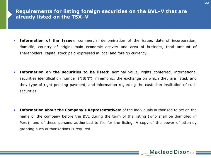Requirements for listing foreign securities on the BVL–V that are already listed on the TSX–V