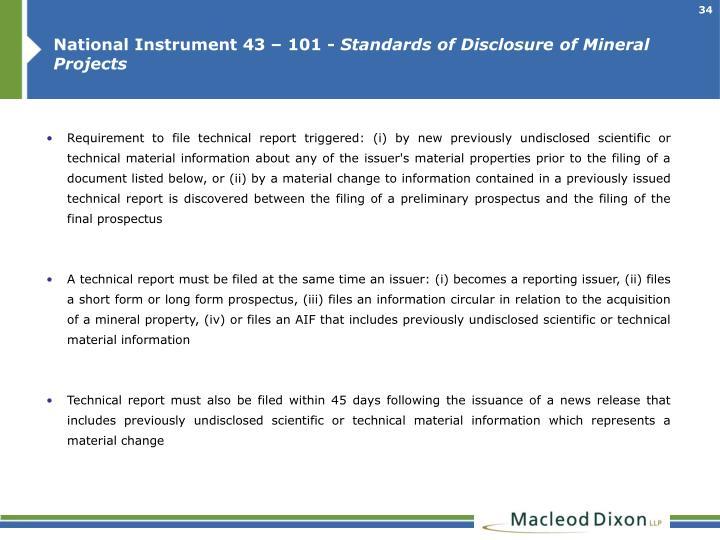 National Instrument 43 – 101 -
