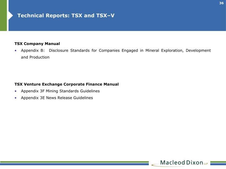 Technical Reports: TSX and TSX–V