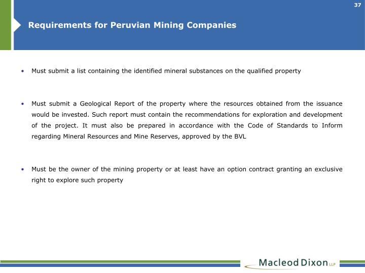Requirements for Peruvian Mining Companies
