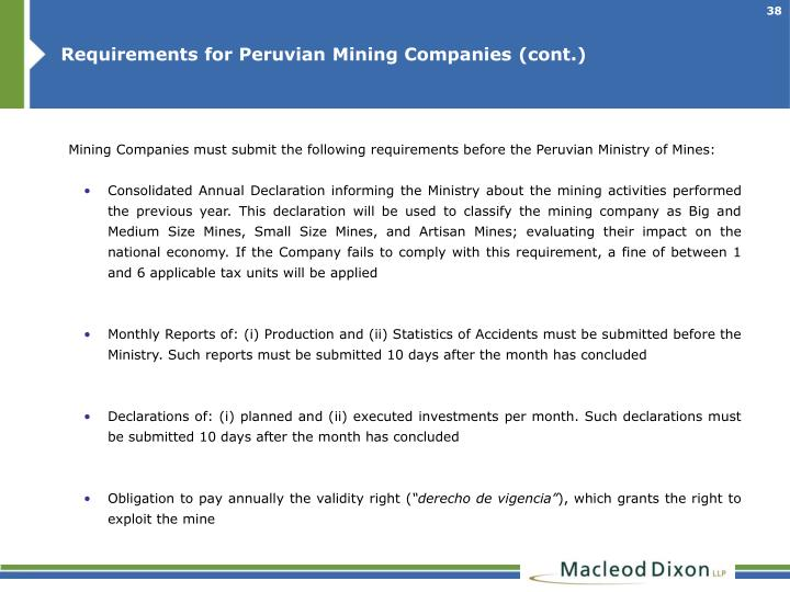 Requirements for Peruvian Mining Companies (cont.)