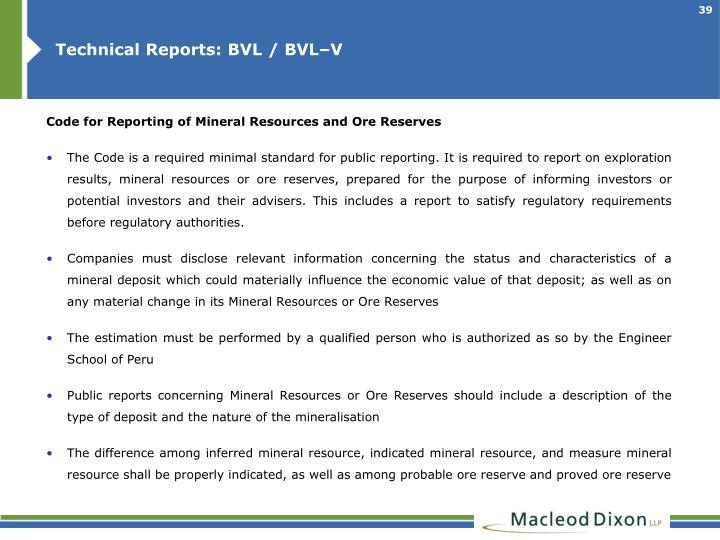 Technical Reports: BVL / BVL–V