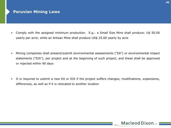 Peruvian Mining Laws