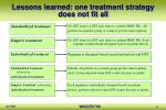 lessons learned one treatment strategy does not fit all
