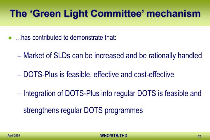 The 'Green Light Committee' mechanism