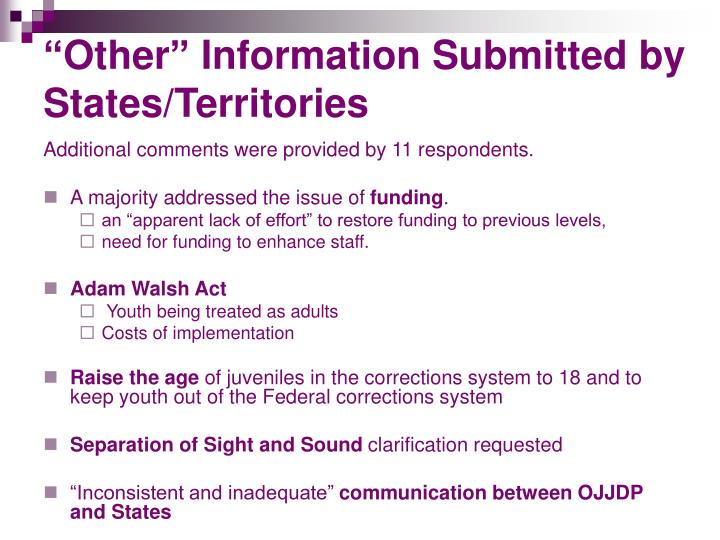 """Other"" Information Submitted by States/Territories"