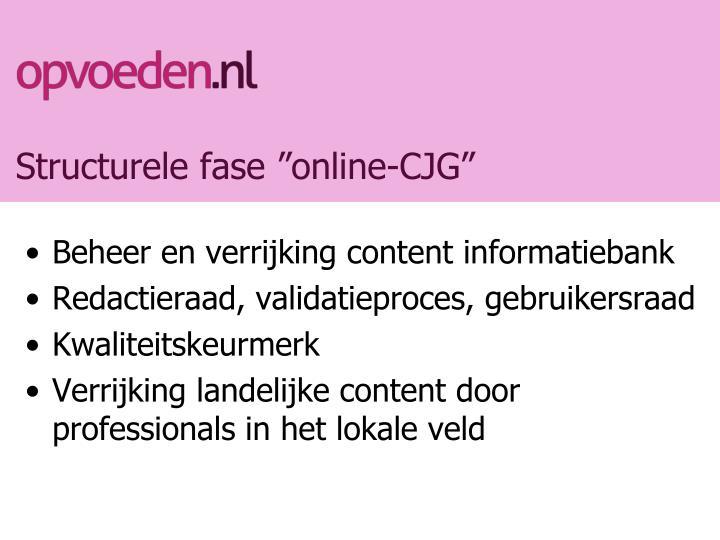 "Structurele fase ""online-CJG"""