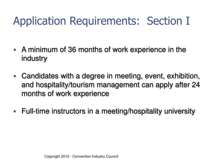 Application Requirements:  Section I
