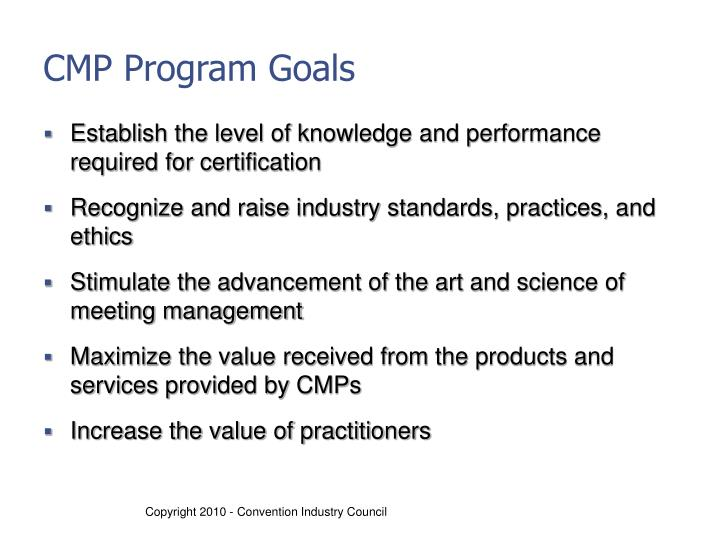 CMP Program Goals