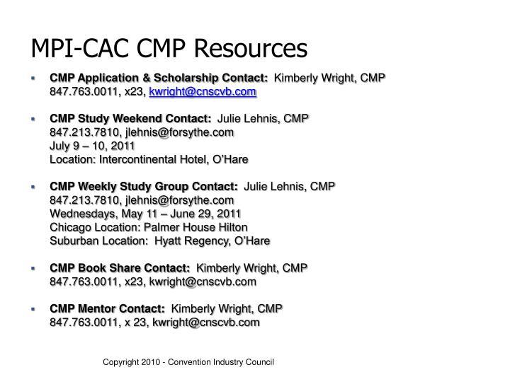 MPI-CAC CMP Resources