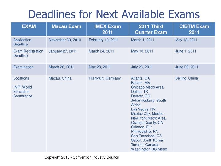 Deadlines for Next Available Exams