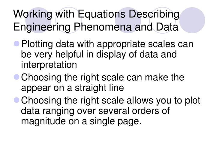 Working with Equations Describing Engineering Phenomena and Data