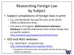 researching foreign law by subject