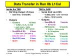 data transfer in run iib l1cal
