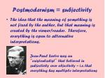 postmodernism subjectivity
