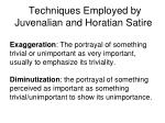 techniques employed by juvenalian and horatian satire