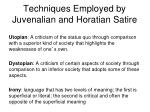 techniques employed by juvenalian and horatian satire1